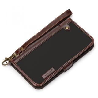 [新iPhone記念特価]Premium Style PUレザー手帳型ケース ナイロン ブラック iPhone 6s/6