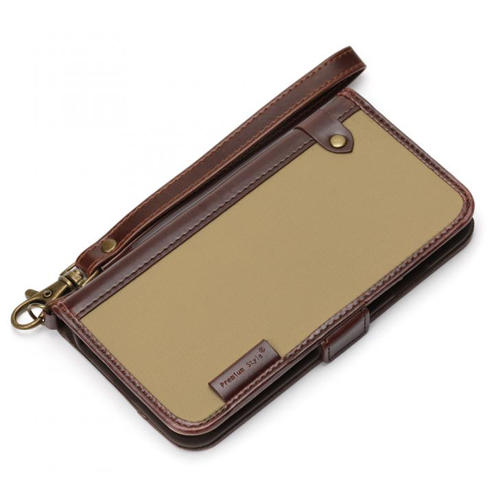 【iPhone6s/6ケース】Premium Style PUレザー手帳型ケース ナイロン ベージュ iPhone 6s/6_0