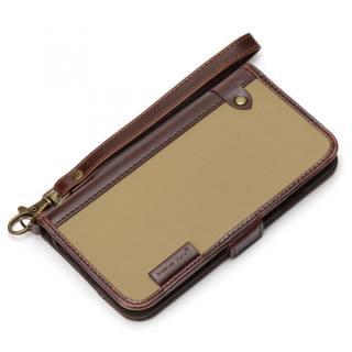 Premium Style PUレザー手帳型ケース ナイロン ベージュ iPhone 6s/6