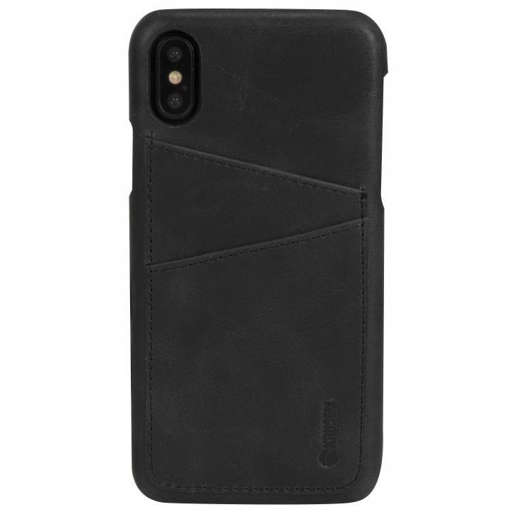 Krusell Sunne 背面カードポケット レザーケース ブラック iPhone X