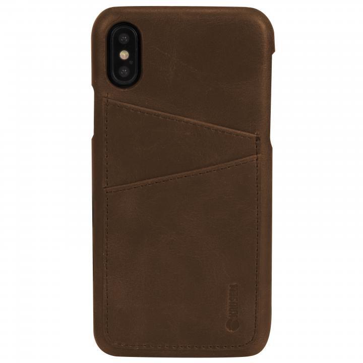 Krusell Sunne 背面カードポケット レザーケース ブラウン iPhone X
