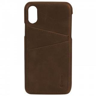 【iPhone Xケース】Krusell Sunne 背面カードポケット レザーケース ブラウン iPhone X_1