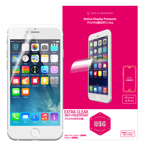 超薄型0.125mm 表面硬度4H USG クリア iPhone 6フィルム