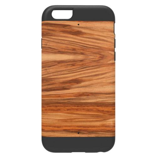 【iPhone6ケース】天然木 Man&Wood プロテクションタイプ カプチーノ ブラックフレーム iPhone 6ケース_0