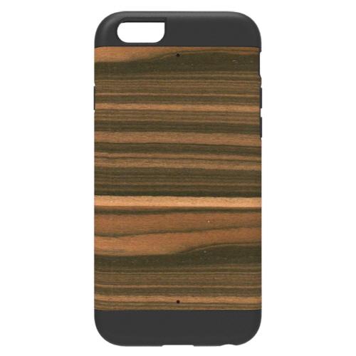 天然木 Man&Wood プロテクションタイプ エボニー ブラックフレーム iPhone 6ケース
