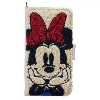 ディズニー サガラ刺繍手帳型ケース ミニーマウス iPhone X