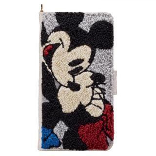 ディズニー サガラ刺繍手帳型ケース ミッキー&ミニー iPhone X【9月下旬】