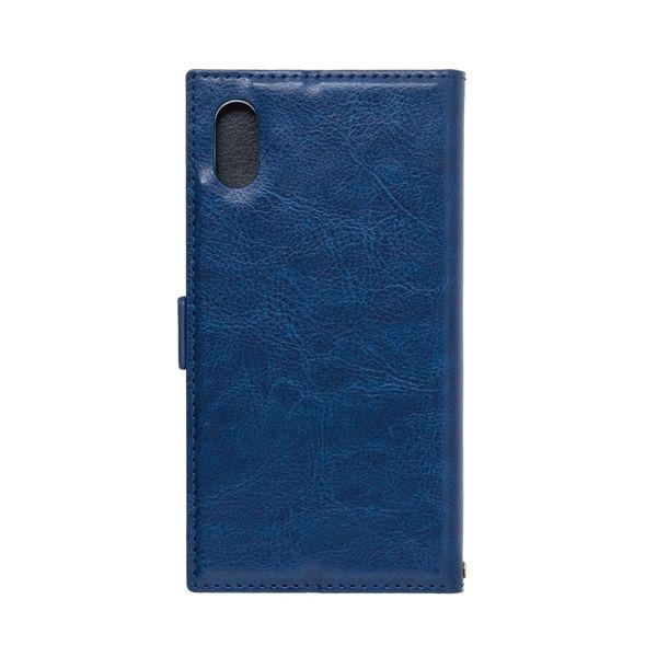アクセントボーダー 手帳型PUレザーケース ブルー iPhone X