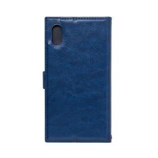 アクセントボーダー 手帳型PUレザーケース ブルー iPhone XS/X