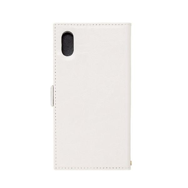 iPhone XS/X ケース アクセントボーダー 手帳型PUレザーケース ホワイト/ブラック iPhone XS/X_0