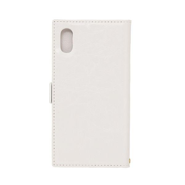 【iPhone XS/Xケース】アクセントボーダー 手帳型PUレザーケース ホワイト/ブルー iPhone XS/X_0