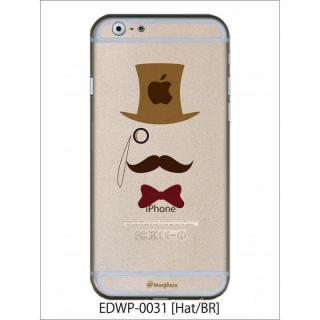 アトモスフィア クリアデザインケース ヒゲハット ブラウン iPhone 6ケース