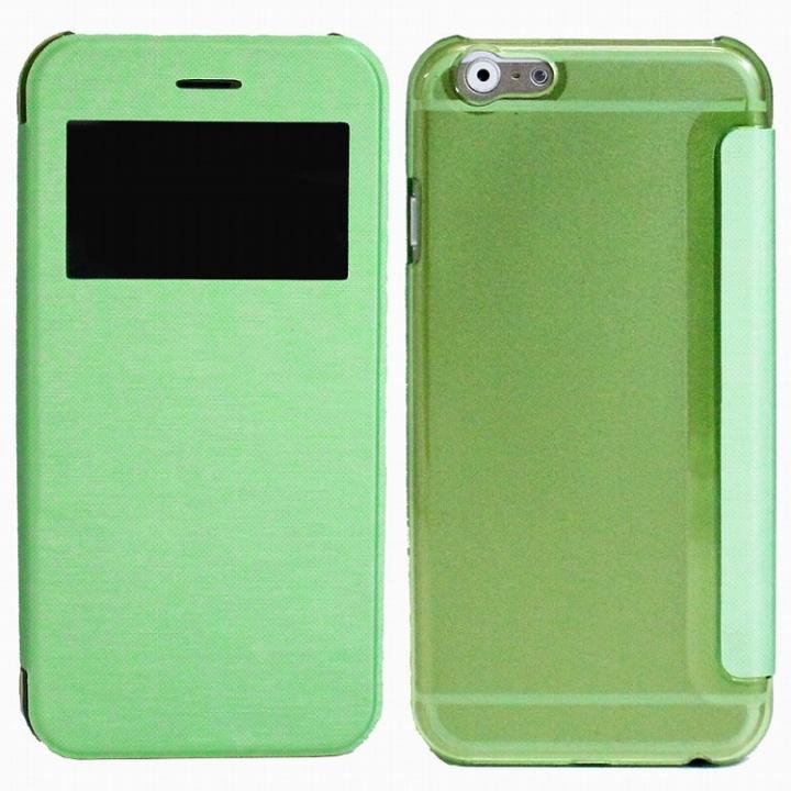 iPhone6 Plus ケース 小窓付き横開きケース  グリーン iPhone 6 Plusケース_0