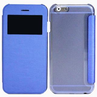 小窓付き横開きケース  ブルー iPhone 6 Plusケース