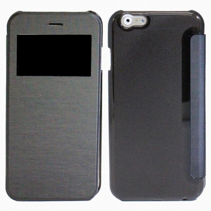 小窓付き横開きケース  ブラック iPhone 6 Plusケース
