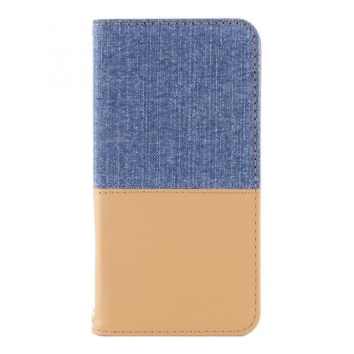 THE デニム×PUレザー 横バイカラー手帳型ケース ライトブルーデニム/キャメル iPhone X