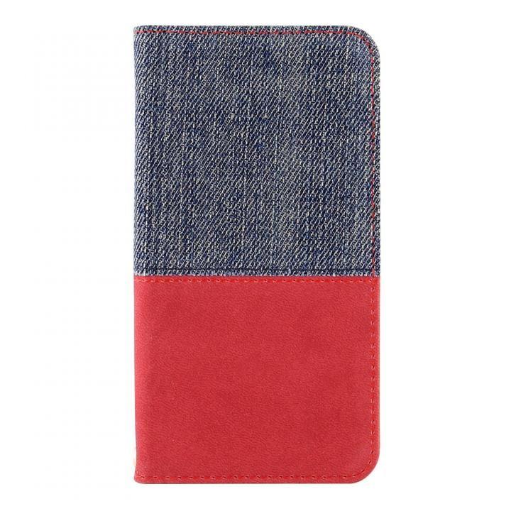 【iPhone Xケース】THE デニム×PUレザー 横バイカラー手帳型ケース デニム/レッド iPhone X_0