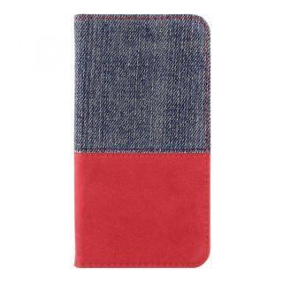 THE デニム×PUレザー 横バイカラー手帳型ケース デニム/レッド iPhone X
