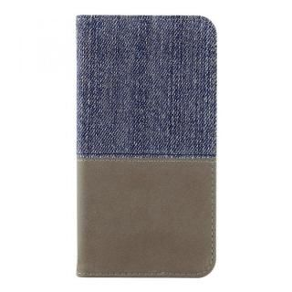 THE デニム×PUレザー 横バイカラー手帳型ケース デニム/グレー iPhone X