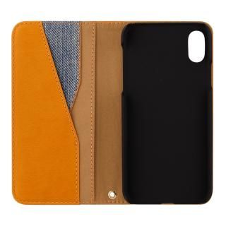 【iPhone Xケース】THE デニム×PUレザーデザイン 手帳型ケース デニム/キャメル iPhone X_1