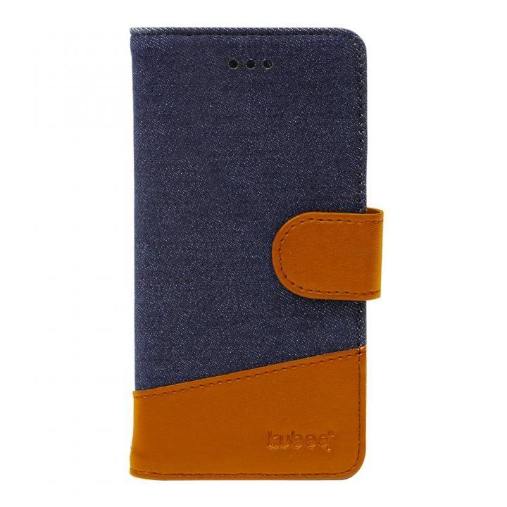 iPhone X ケース kuboq 手帳型ケース デニム インディゴブルー/ブラウン iPhone X_0