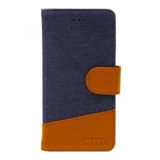 iPhone X ケース kuboq 手帳型ケース デニム インディゴブルー/ブラウン iPhone X
