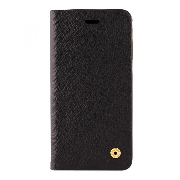 CURREN 手帳型ケース サフィアーノ調 ブラック iPhone X