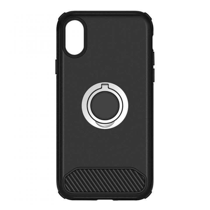 【iPhone Xケース】STD ハイブリッドリングケース 耐衝撃 ブラック iPhone X_0