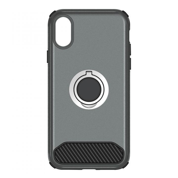 【iPhone Xケース】STD ハイブリッドリングケース 耐衝撃 ガンメタル iPhone X_0