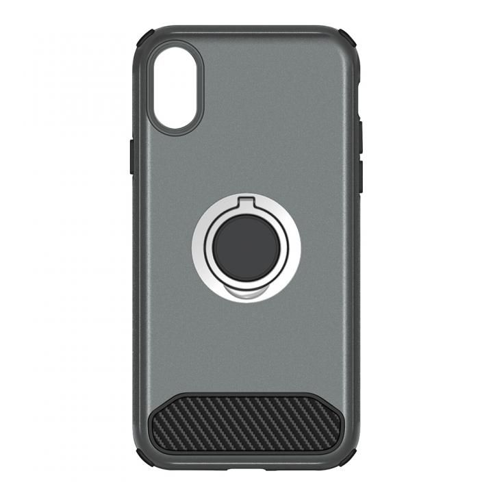 [2018新生活応援特価]STD ハイブリッドリングケース 耐衝撃 ガンメタル iPhone X