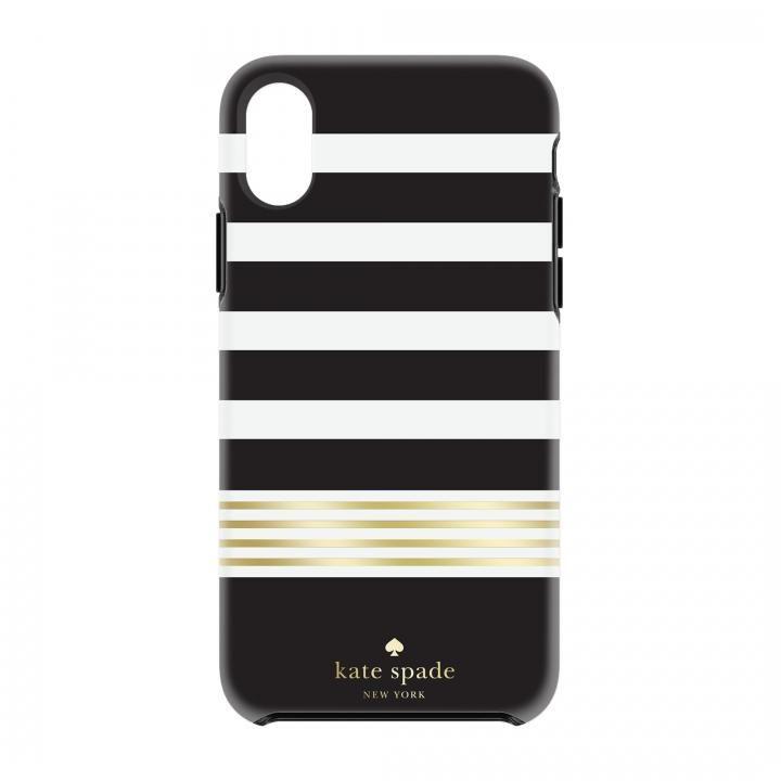 1efed2d3a5 kate spade new york ハードケース Stripe 2 -Black/White/Gold iPhone X