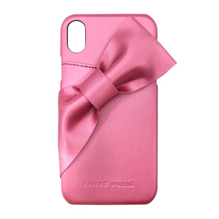 iPhone XR ケース LAISSE PASSE ドレープリボン背面ケース ローズピンク iPhone XR【11月下旬】_0