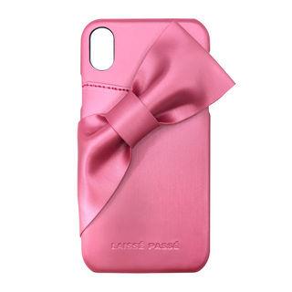 iPhone XR ケース LAISSE PASSE ドレープリボン背面ケース ローズピンク iPhone XR【11月下旬】