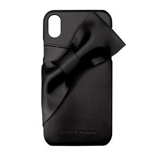 【iPhone XRケース】LAISSE PASSE ドレープリボン背面ケース ブラック iPhone XR