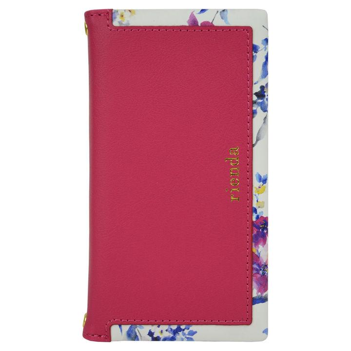 iPhone XR ケース rienda スクエア ブラー手帳型ケース ピンク iPhone XR【10月下旬】_0