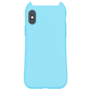 iPhone XS/X ケース HANA MACAROON 猫耳デザインケース ブルー iPhone XS/X