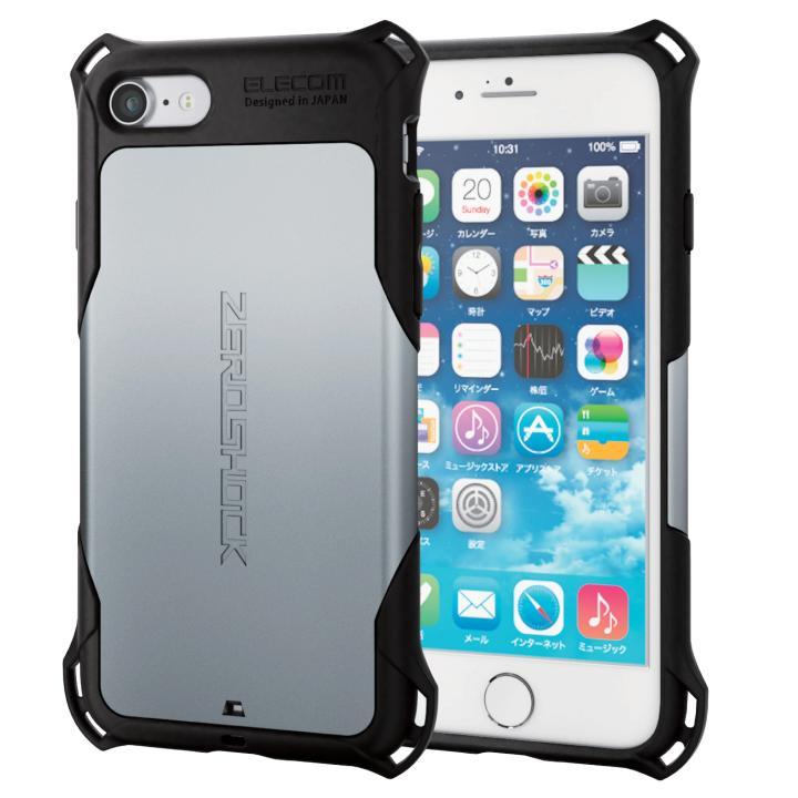 iPhone7 ケース 耐衝撃ケース ZEROSHOCK シルバー iPhone 7_0