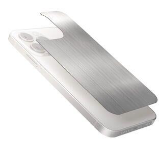 iPhone 13 / iPhone 13 Pro (6.1インチ) フィルム 背面用ガラスフィルム アルミ調 ヘアラインデザイン シルバー iPhone 13 Pro
