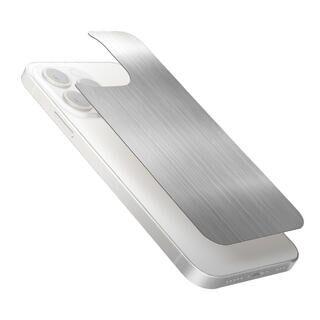 iPhone 13 Pro Max (6.7インチ) フィルム 背面用ガラスフィルム アルミ調 ヘアラインデザイン シルバー iPhone 13 Pro Max