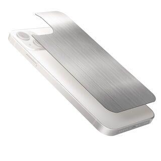 iPhone 13 / iPhone 13 Pro (6.1インチ) フィルム 背面用ガラスフィルム アルミ調 ヘアラインデザイン シルバー iPhone 13