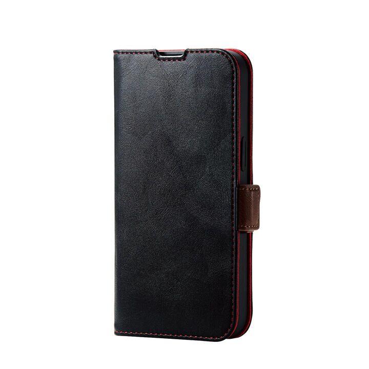 レザーケース 手帳型 耐衝撃 磁石付き ステッチ ブラック iPhone 13_0