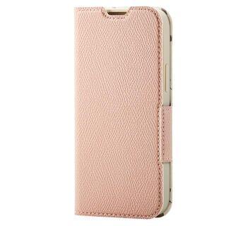 iPhone 13 mini (5.4インチ) ケース レザーケース 手帳型 UltraSlim Flowers 薄型 磁石付き スモーキーピンク iPhone 13 mini