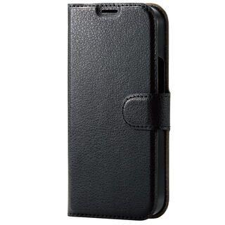 iPhone 13 mini (5.4インチ) ケース レザーケース 手帳型 UltraSlim 薄型 磁石付き ステッチ ブラック iPhone 13 mini