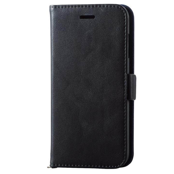 ソフトレザー手帳型ケース vluno マグネットタイプ ブラック iPhone 7