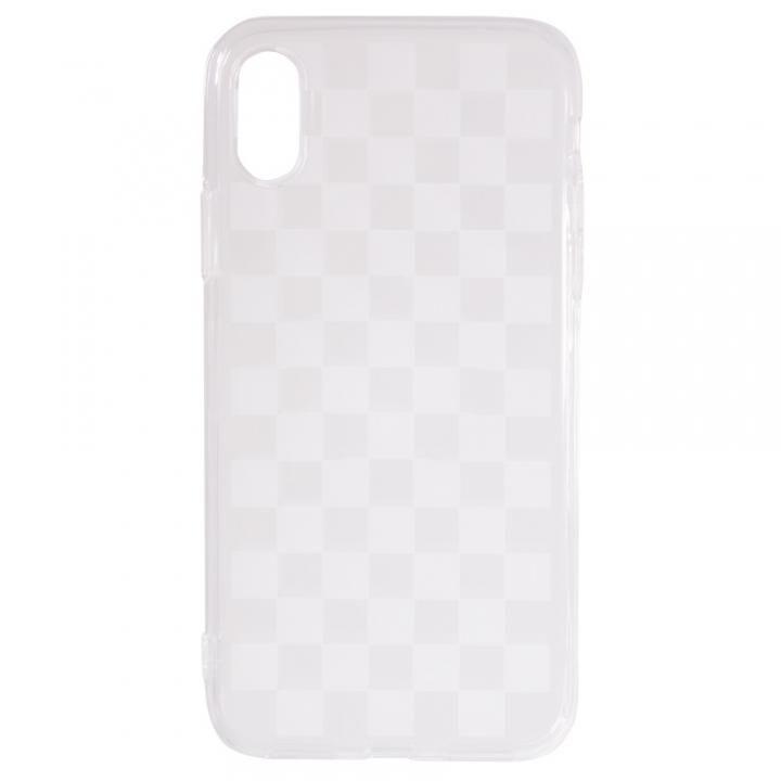 【iPhone Xケース】CURREN ソフトケース クリア/チェッカード iPhone X_0