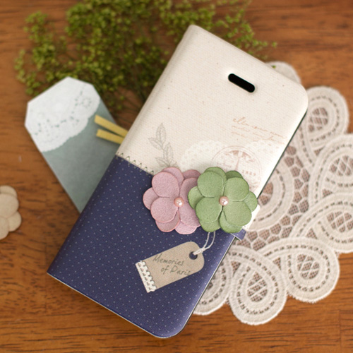 iPhone5 手帳型ケース Memories of Paris Diary ダークブルー