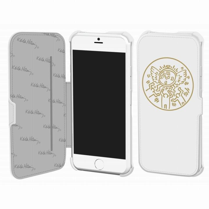 キース・へリング コレクション PUレザー手帳型ケース ウォッチ/ホワイト x ゴールド iPhone 6ケース