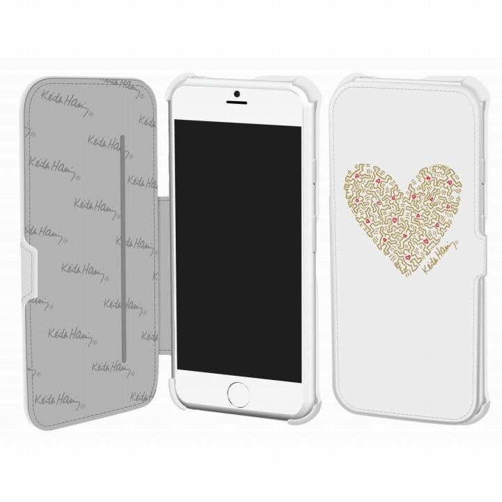 【iPhone6ケース】キース・へリング コレクション PUレザー手帳型ケース ハート/ホワイト x ゴールド iPhone 6ケース_0