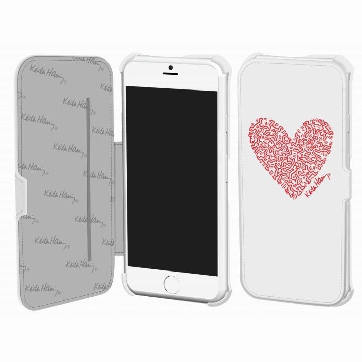 キース・へリング コレクション PUレザー手帳型ケース ハート/ホワイト x レッド iPhone 6ケース