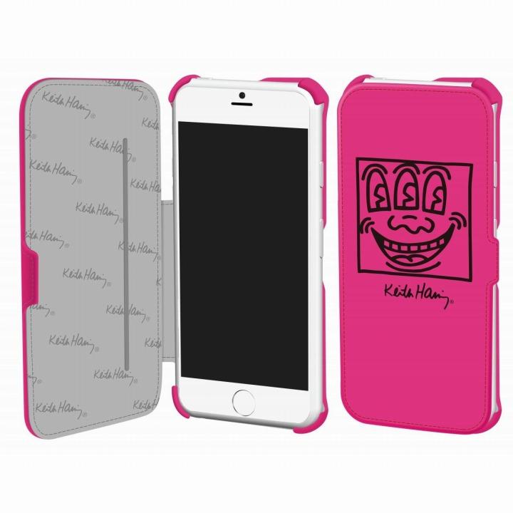 キース・へリング コレクション PUレザー手帳型ケース フェイス/ピンク x ブラック iPhone 6ケース